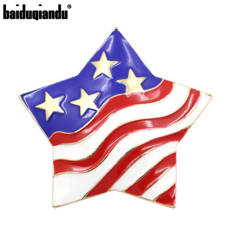 ¡Venta directa de fábrica! Broche con forma de bandera estadounidense con estrellas y rayas esmaltadas en Color dorado