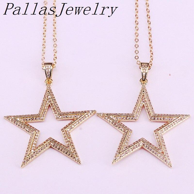 5 uds. Micro pavimentada CZ zirconia estrella joyería oro encanto moda mujer joyería colgante collar