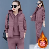 3pcs winter women tracksuit sportswear thick fleece warm coat running jogger outfit casual set sport suit hoodiesweatshirtpant