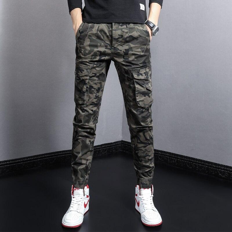 Камуфляжные военные комбинезоны, модные дизайнерские мужские джинсы, повседневные брюки-карго, уличная одежда, Джоггеры в стиле хип-хоп, му...