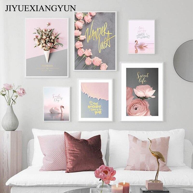 Cuadro sobre lienzo para pared carteles nórdicos e impresiones imágenes de planta de pared para decoración para sala de estar