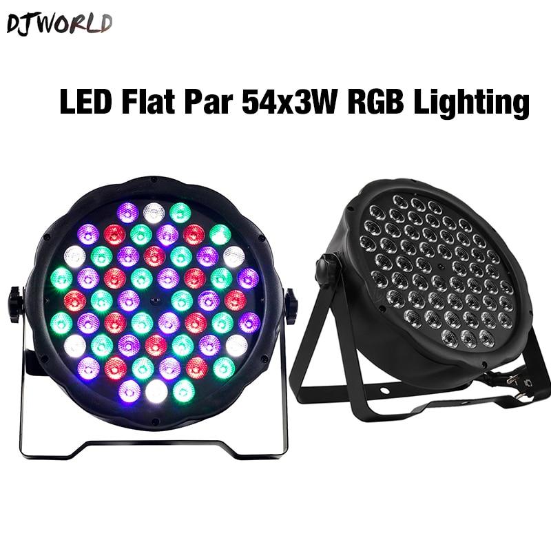 2шт% 2Flot LED Flat Par 54x3W RGB Color Lighting Bright DMX Controller Strobe For Home Dance Floor DJ Bar Stage Light Effects