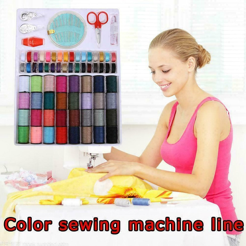 Juego de carretes de hilo de línea de máquina de coser de 64 rollos, Kit de cinta de aguja de carrete de algodón de bobina para el hogar GQ