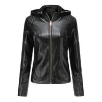 faux leather pu jacket women hoodies autumn winter long sleeve plus velvet warm coat female motorcycle zipper jacket outerwear