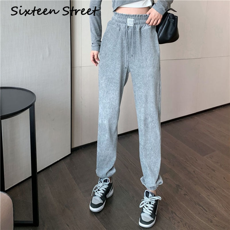 Drawstring Sweatpants Women Bottoms Hot Pants Office Lady Vintage Loose Casual Corduroy Trouser Fema
