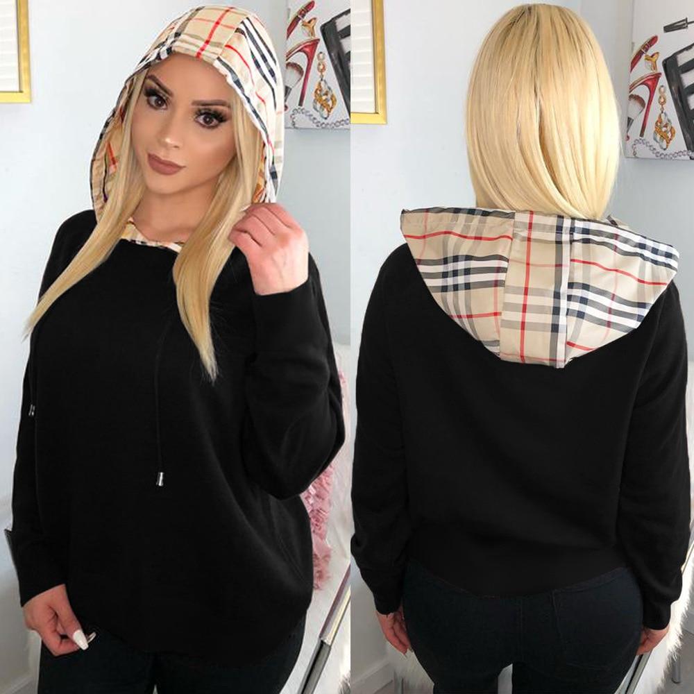 Ursuper Women's Clothing Cross-Border Nightclub Uniforms Classic Plaid Drawstring Hooded Patchwork Sweater Top