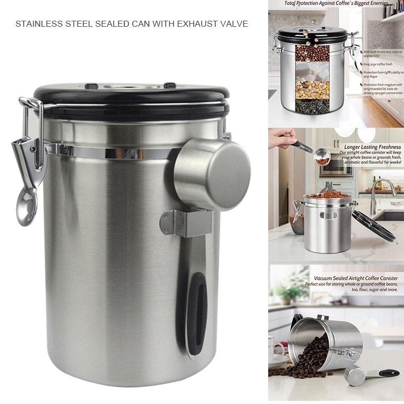 1500/1800 ミリメートルコーヒーキャニスターステンレス鋼容器地面ボールトジャー真空密封されたカンチレバーカバーバルブキッチン