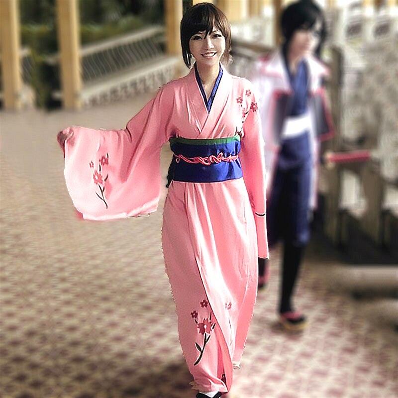 Anime Cosplay Gintama traje abrigo Kimono conjunto Shimura Tae ropa Cosplay Kimono disfraz de Halloween trajes zuecos de mujer