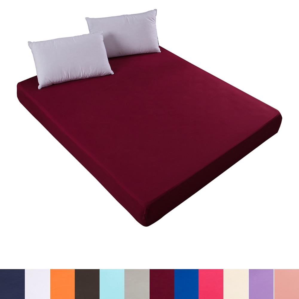 غطاء مرتبة بلون سادة مع شريط مطاطي غطاء سرير مطاطي من جميع النواحي لالتوأم كامل الملكة الملك حجم مزدوج