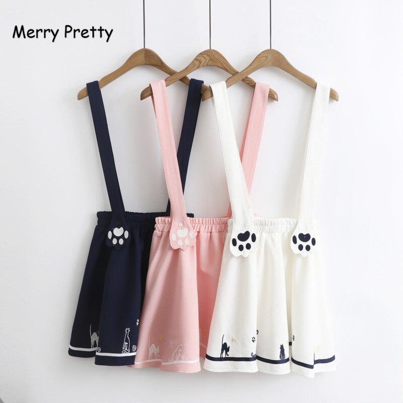 Merry Pretty New Summer Women Skirts Cartoon Cat Dog Embroidery Skirt Harajuku Kawaii Japan Style Cute Chiffon Strap Mini Skirt