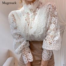 Blusa de encaje con manga de pétalos para mujer, camisa ahuecada de retazos de encaje de flores, blusa que combina con todo, Top blanco con botones 12419