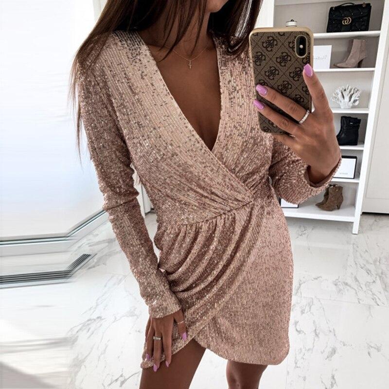 Mini vestido elegante de lentejuelas con purpurina Irregular, vestido Sexy con escote en V profundo, vestido ajustado de otoño, vestidos de fiesta de manga larga, Dropshipping