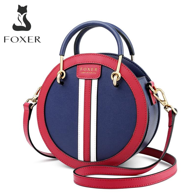 FOXER Women's Split Leather Round Crossbody Bag Female Small England Style Circular Handbag Lady 2020 Shoulder Bag Gift for Girl