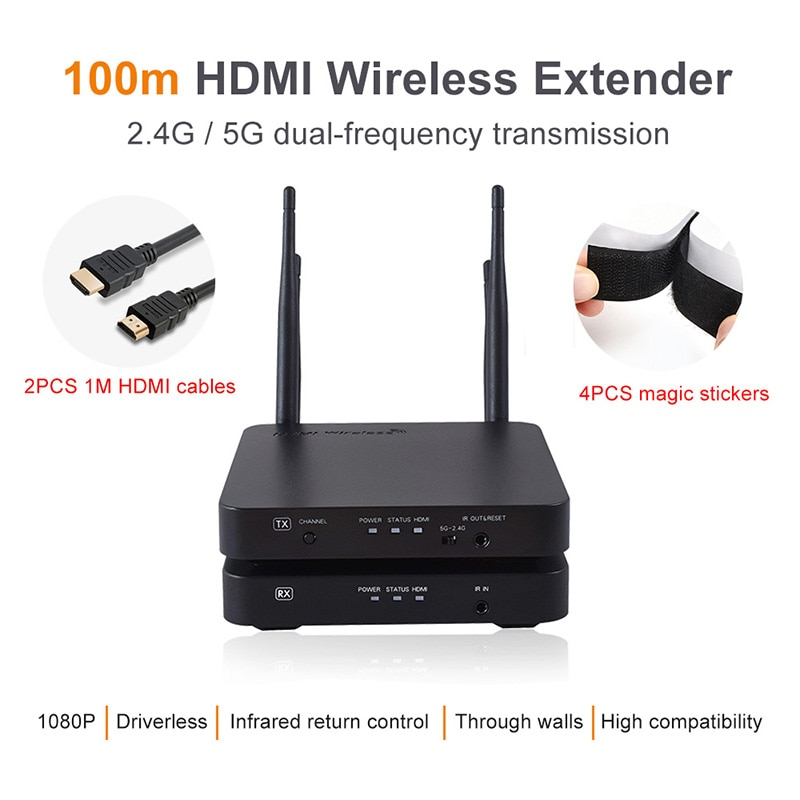 100M Wireless HDMI Extender 2.4GHz/5GHz 1080P Wifi HDMI 1.3 Audio Video Sender Transmitter Receiver With IR Support HDCP1.4 HDTV