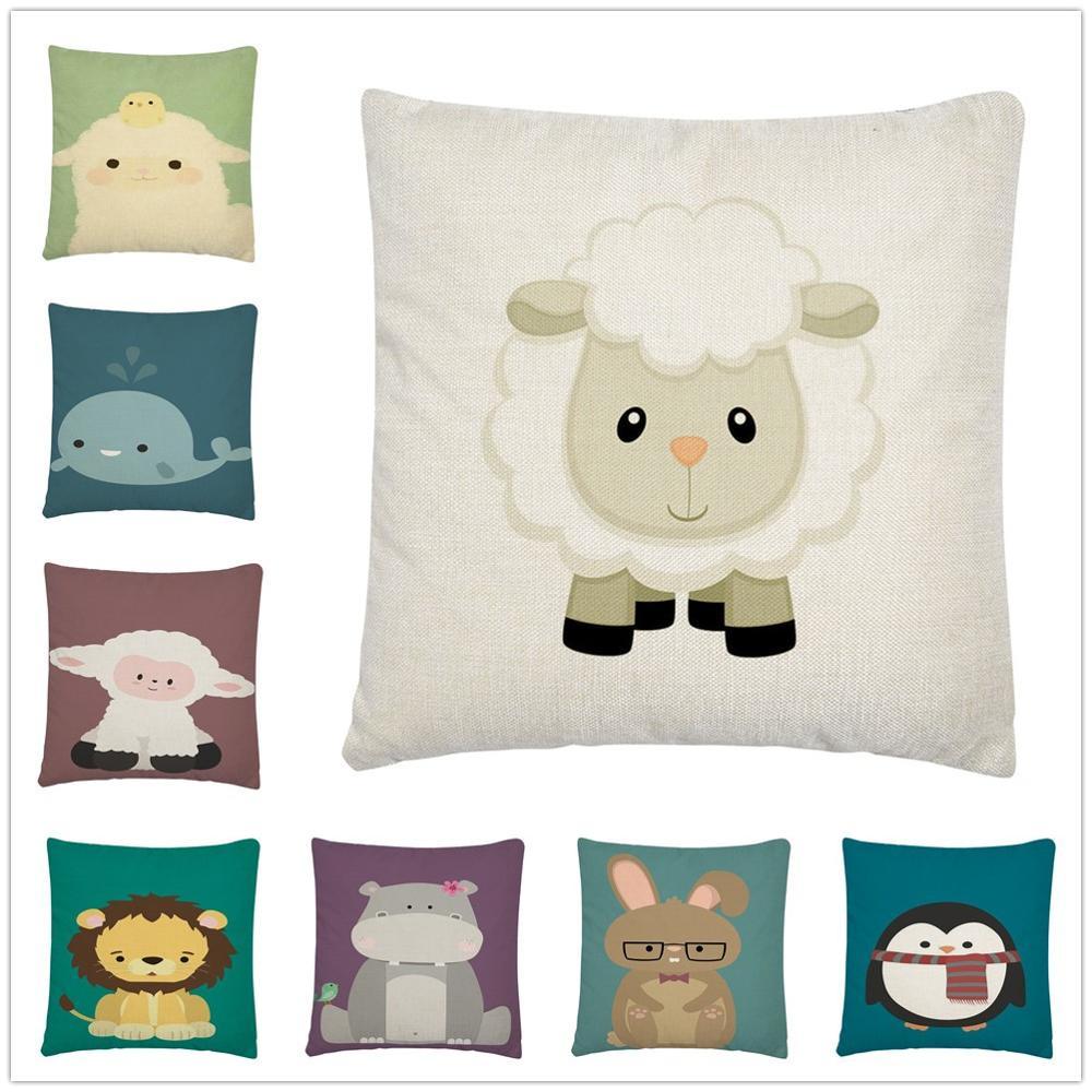 Childish simple cartoon animal pattern Linen Cushion Cover Pillow Case for Home Sofa Car Decor Pillowcase 45X45cm