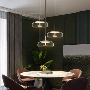 Modern Glass Pendant Lamps LED Bowl Nordic Lighting Luminaries Hanging Lights Dining Bedroom Decoration Indoor Kitchen Fixture