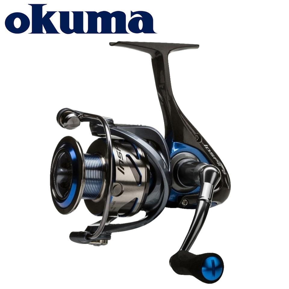 OKUMA-بكرة صيد دوارة إنديرا ، إطار كربوني ، خفيف الوزن ، أحمر/أزرق/أبيض ، 5.0:1 8 1BB ، طاقة 5.9-7.9 كجم