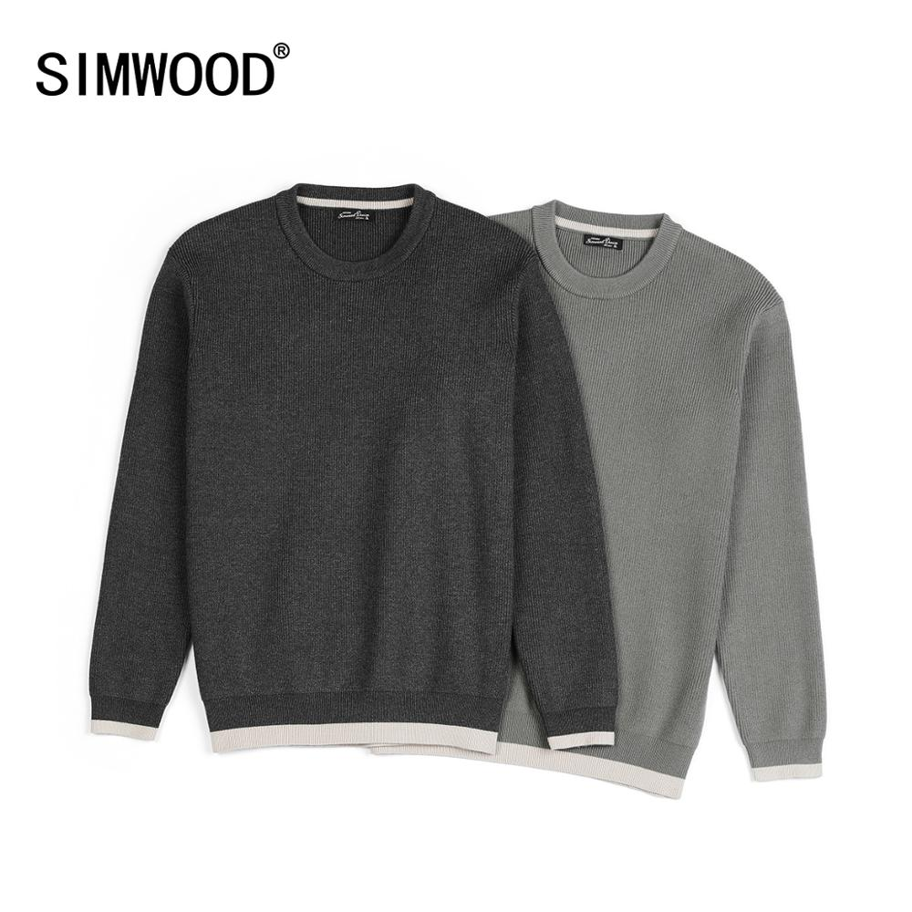 SIMWOOD Winter New Sweater Men Contrast Color O-neck Plus Size Pullovers High Quality Brand Clothing SJ121296