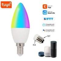 Tuya     ampoule LED intelligente  wi-fi  E14  E27  RGB   W   C  lumiere reglable  telecommande  fonctionne avec Alexa Google Home Assistant