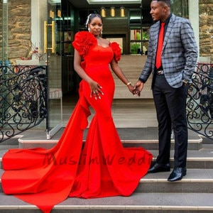 African Mermaid Evening Gowns With Train Elegant Satin Black Girls Plus Size Prom Dresses 2020 With Handmade Flowers Party Gown