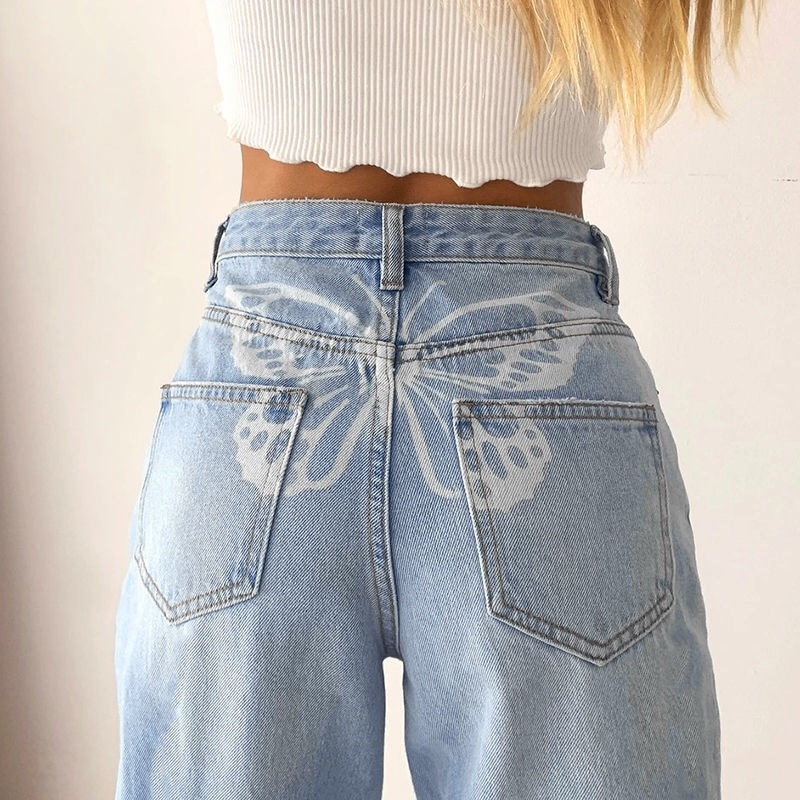 Butterfly Pattern Straight Leg Fashion Jeans High Waisted Trousers 90s Aesthetic Casual Denim Summer Pants for Women