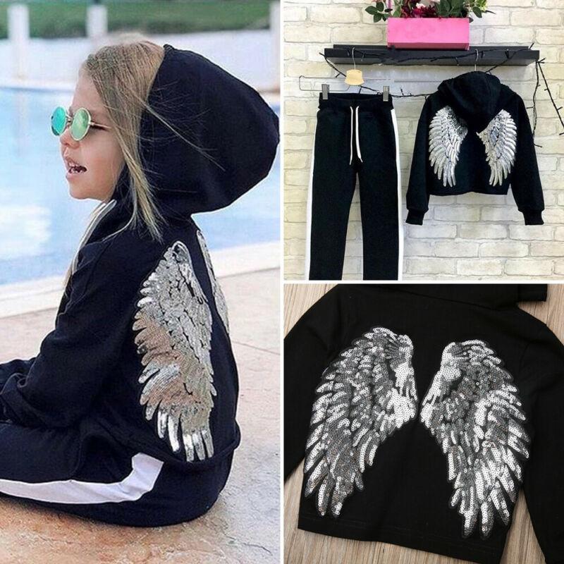 2019 комплекты зимней одежды для маленьких девочек, топы с капюшоном и блестками + длинные штаны, спортивный костюм