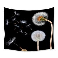 Dandelion Flowers Black Tapestry Wall Hanging Polyester Home Bedroom Decor Bedspread Beach Mat Blanket Yoga Mat Tapestries