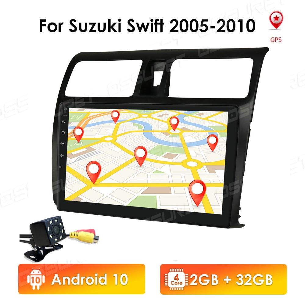 2G 32G 2din Android 10,0 QUAD CORE 10,1 pulgadas 2.5D pantalla de navegación del coche para Suzuki Swift 2005 2006 2007 2008 2009 2010