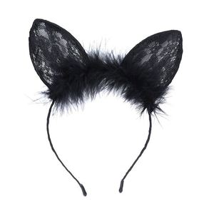 Cat Ears Lace Feather Hair Hoop Black Party Accessories Sexy Hairbands Cats Ear On The Head Women Headdress