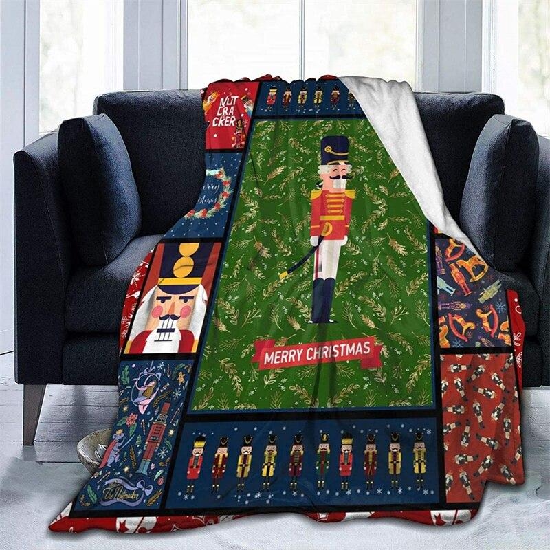 كسارة البندق عيد ميلاد سعيد لينة أفخم هدية الفانيلا صوف ليف دقيق المفرش شيربا 3d-print بطانية الأريكة