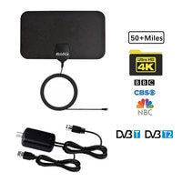 50 miles 30 dbi Indoor High Gain Freeview HD Digital TV Antenna 1080P / VHF / UHF and 16.4ft Coaxial Cable  for MyGica TV Tuner