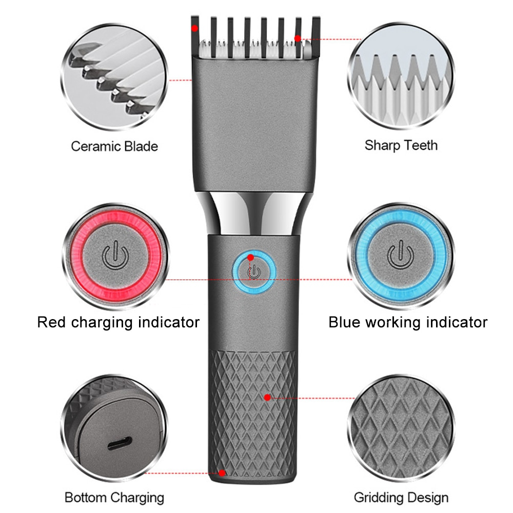 Professional Electric Hair Clippers Trimmer For Men Adults Kids Cordless USB Rechargeable Hair Cutting Machine Mower Cutter enlarge