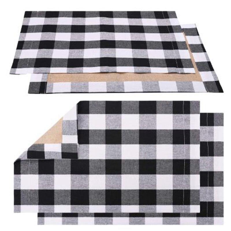 4 Pcs Preto Manta Branca Placa Talheres Placemat Esteira de Tabela Placemat para Colocação Diária, Decoração de Casa, jantar em família, Ba