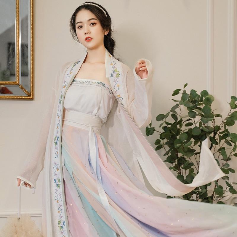 Радуга шепот цветок династии Хань одежда оригинальная песня система на кардиган плиссированная песня посыпанная Золотой 4,5 м сто платье