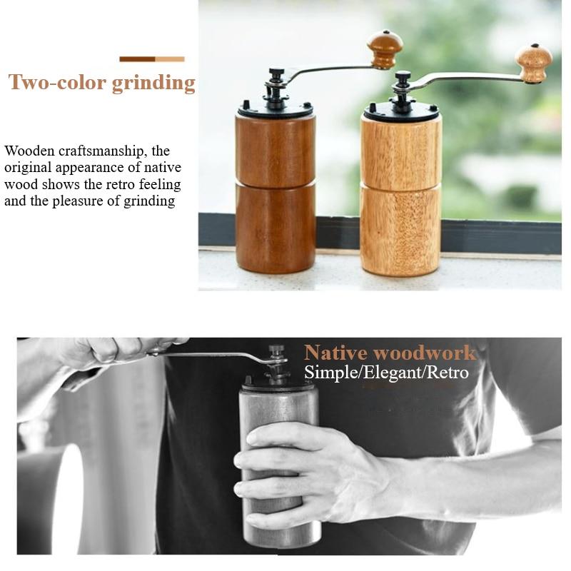 1 قطعة طاحونة القهوة اليد قابل للتعديل سمك المنزلية خشب متين مطحنة حبوب القهوة المطبخ أداة