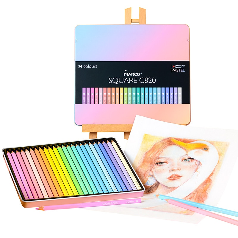 Mark square pole 12/24/48 color colored pencil set, iron box oily/water-soluble colored crayons for painting and art supplies