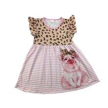 Vestido de verano para niñas con estampado de leopardo, vestidos de perlas rosa de cerdo, ropa de rayas para niños