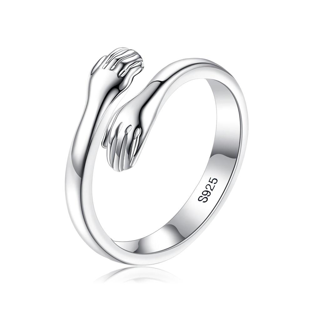 Женское-кольцо-ручной-работы-из-серебра-s925-пробы-обнимающие-руки-кольца-простой-теплый-и-милый-подарок-Изящные-Ювелирные-украшения