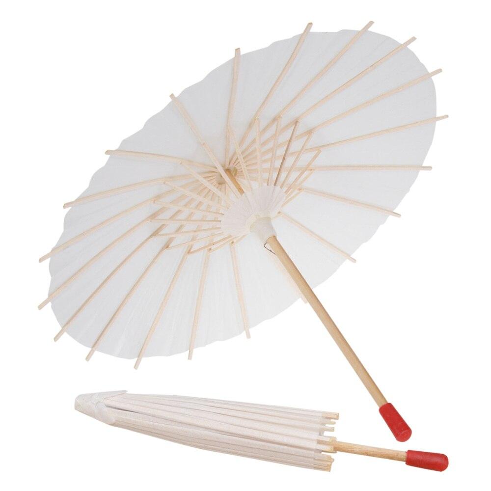 2 pièces papier blanc Parasol chinois japonais artisanat papier décoratif parapluie pour anniversaire anniversaire bébé douche