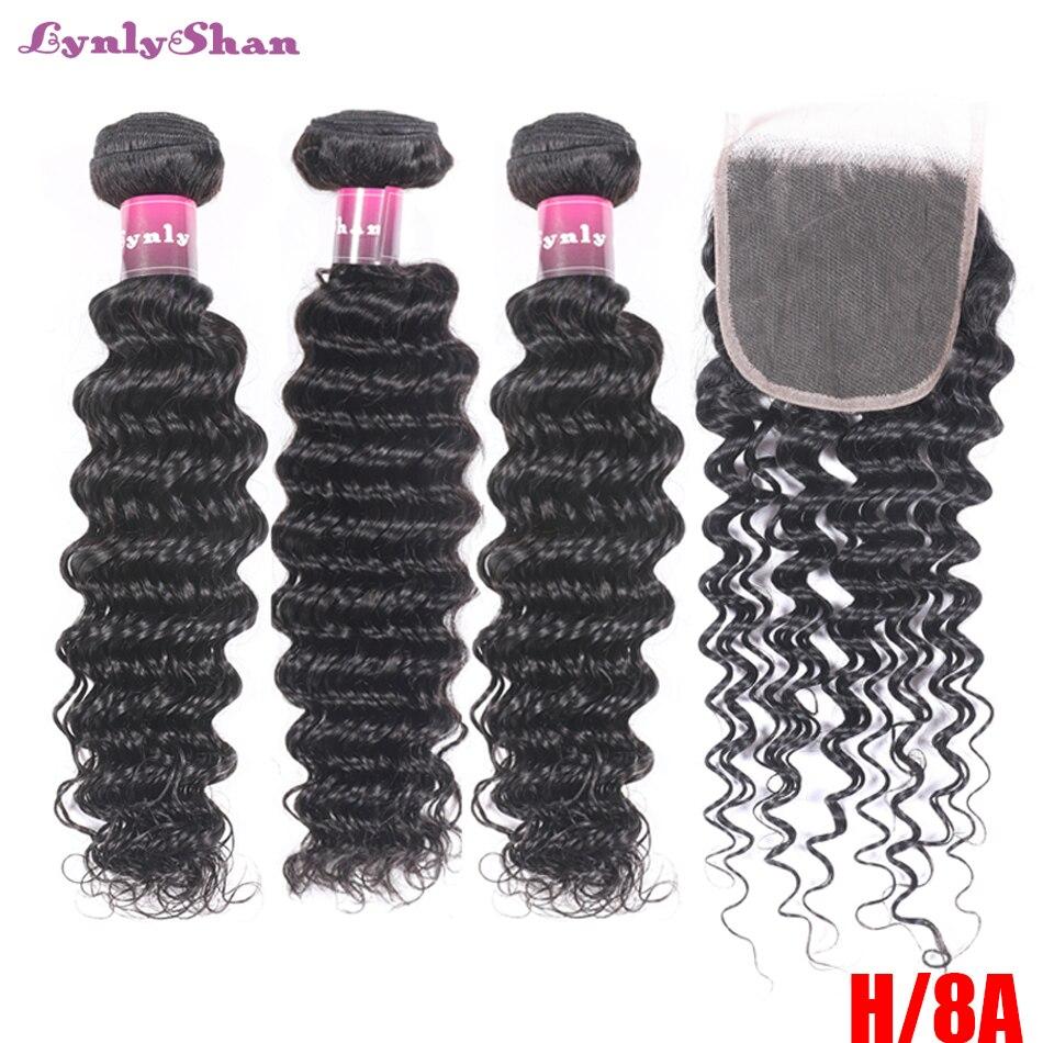Lynlyshan Deep Wave 3 Bundles With Lace Closure 4x4 Brazilian Hair Weave BundleS With Closure Human Hair Extension 4 pcs/lot