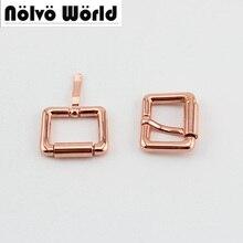 Nolvo Wereld 10-50 Pcs Rose Gold Kleur 2 Maat 20Mm 25Mm Spanschroef Zinklegering Vierkante Pin gesp Zakken, rose Gold Riemen Gespen
