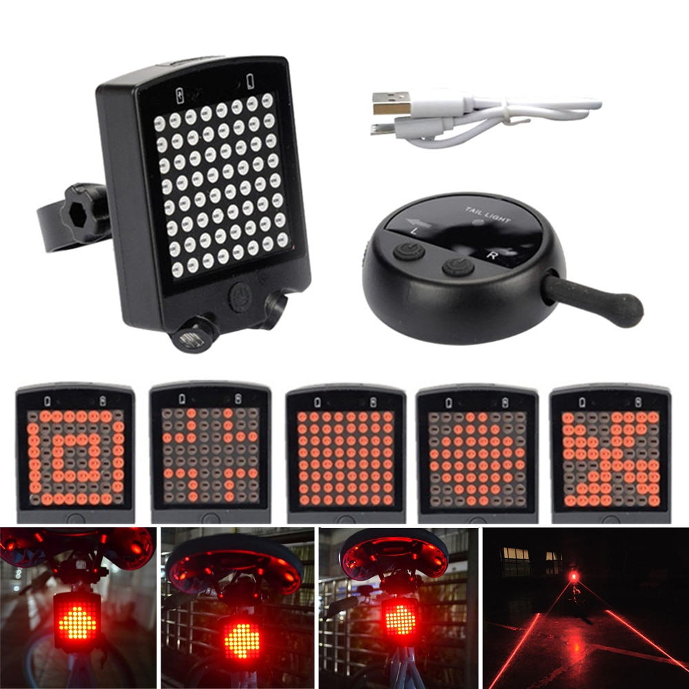 64 led laser sem fio sinais de volta bicicleta luz da cauda usb recarregável controle remoto luz segurança ciclismo luzes advertência