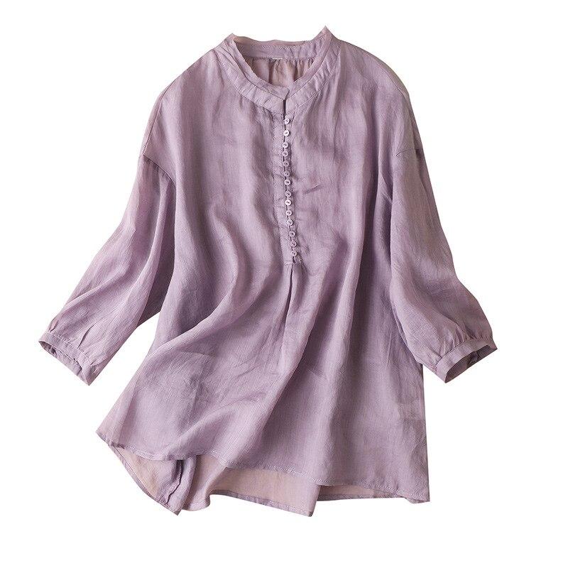 Фото - SHUCHAN Button Up Women Shirt Three Quarter Sleeve Ramie Fashion Clothes Woman 2021 Tops Mujer  New Women Tops Casual three women