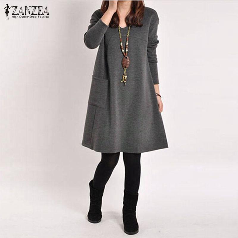 Vintage Solid Knee-Length Dress Women's Autumn Sundress ZANZEA 2020 Pullovers Long Sleeve Tunic Vestidos Female Hoodies Robe 5XL