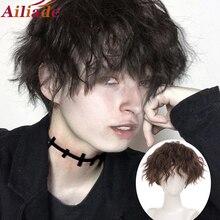 AILIADE-Peluca de pelo sintético para hombre, pelo corto y rizado, negro, con rayas resistentes al calor, parte media, Cosplay, Halloween