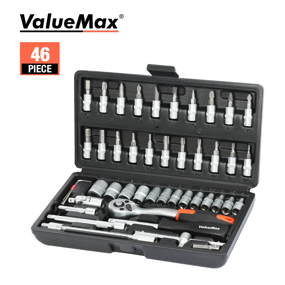 ValueMax Hand Tool Sets Car Repair Tool Kit Set Mechanical Tools Box for Home 1/4-inch Socket Wrench