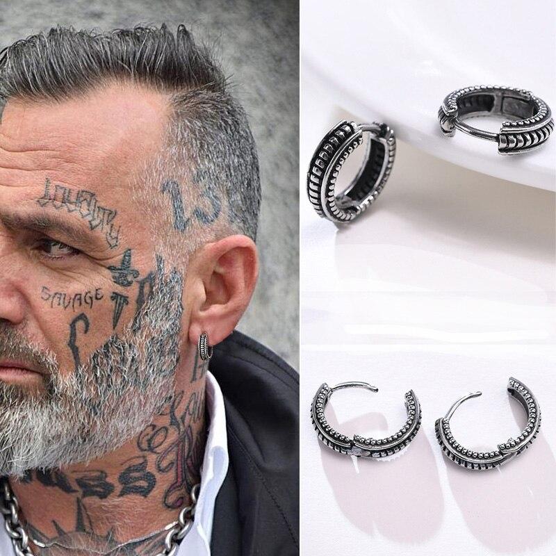 Маленькие серьги-кольца Huggie в винтажном серебряном цвете, Мужская серьга в виде кольца, мужские круглые Круглые ретро ювелирные изделия