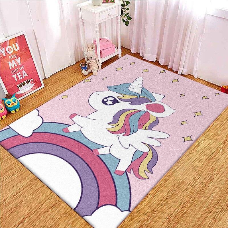 Cartoon Rainbow Unicorn 3D Printing carpet Children's Bedroom Play Floor Mat Cute Kids Room Crawl Area Rugs Child Christmas gift