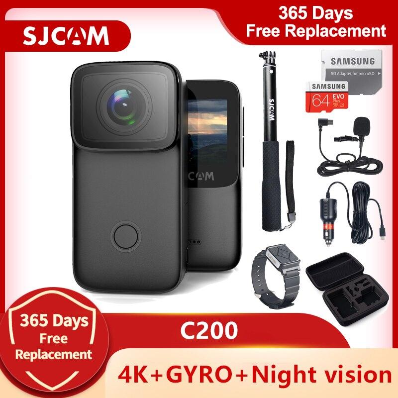 الأصلي SJCAM C200 عمل كاميرا 4K 16MP NTK96660 واي فاي الدوران المضادة للاهتزاز ليلة Nision 40 متر مقاوم للماء الرياضة DV كاميرا ويب