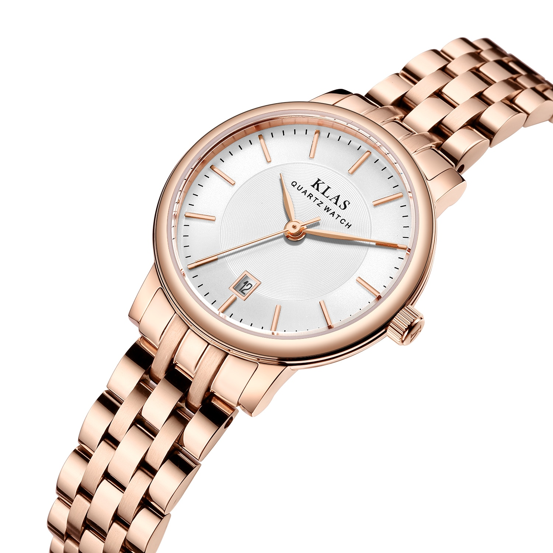 Relógio de Quartzo Impermeável Menina Rosa Ouro Disial Banda Personalizado Klas Marca 30 m